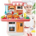 23stk Spielküche Kinderküche mit Licht und Sound, Kinder Küche Spielzeug Eiscafé Rollenspiel Pink