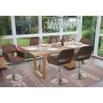 6x Esszimmerstuhl MCW-A50 III, Stuhl Küchenstuhl, Retro 50er Jahre, Stoff/Textil vintage braun, Fuß gebürstet
