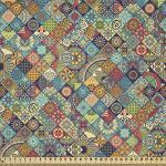 ABAKUHAUS marokkanisch Microfaser Stoff als Meterware, Orientalische Ethno-Motive, Deko Basteln Polsterstoff Textilien, 2M (230x200cm), Mehrfarbig