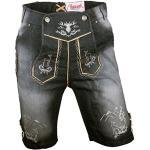 Almwerk Herren Trachten Jeans Lederhose kurz Modell Platzhirsch, Farbe:Schwarz;Lederhose Größe Herren:44