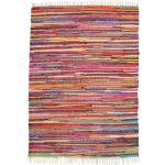 Andiamo Teppich »Multi«, rechteckig, 10 mm Höhe, Flachgewebe, Flickenteppich, reine Baumwolle, handgewebt, mit Fransen, Wohnzimmer bunt