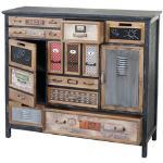 Apotheker-Schrank HWC-A43, Kommode, Tanne Holz massiv Vintage Shabby-Look 100x110x32cm