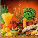 Artland Glasbilder Wandbild Glas Bild einteilig 50x50 cm Quadratisch Italien Pasta Nudeln Lebensmittel Gemüse Mediterran Italienisch Essen S7SM