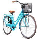 Bergsteiger Amsterdam Damenfahrrad 28 Zoll, mit Korb, Fahrrad-Licht, Rücktrittbremse, Rahmenhöhe 48 cm,Hollandrad im Retro-Design, Farbe Türkis