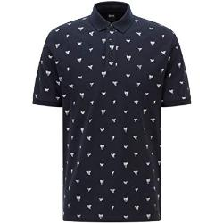 BOSS Herren Peprint Poloshirt aus Baumwoll-Piqué mit Haifischzahn-Print