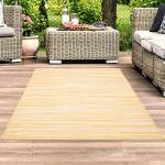 carpet city Teppich-Läufer In- und Outdoor Wetterfest UV-beständig Streifen-Muster Modern Gelb für Terrasse Balkon; Größe: 60x230 cm
