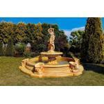 Casa Padrino Barock Springbrunnen Ø 445 x H. 234 cm - Prunkvoller Gartenbrunnen mit Meermuschel Wasserspeier, Farbe:beige