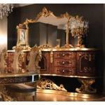 Casa Padrino Luxus Barock Sideboard mit Spiegel Braun / Antik Gold 305 x 50 x H. 232 cm - Prunkvoller Massivholz Schrank mit Wandspiegel - Edle Möbel im Barockstil - Luxus Qualität