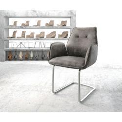 DELIFE Armlehnstuhl Zoa-Flex Grau Vintage Freischwinger rund Edelstahl, Esszimmerstühle