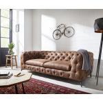DELIFE Couch Corleone 225x97 cm Braun Vintage 3-Sitzer Sofa, 3 Sitzer