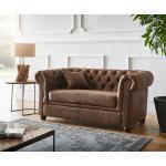 DELIFE Sofa Chesterfield 2-Sitzer 140x88 cm Vintage Braun Abgesteppt Couch, 2 Sitzer
