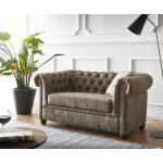 DELIFE Sofa Chesterfield 2-Sitzer 140x88 Vintage Taupe Abgesteppt Couch, 2 Sitzer