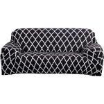 Elastischer Sofa-Überwürfe Antirutsch Stretch Sofaüberzug, Sofahusse, Sofabezug, Sofa Abdeckung Hussen für Sofa, Couch, Sessel(Schwarz Geometrisch, 3 Sitzer)