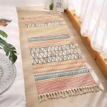 Flickenteppich Baumwolle Leinen Waschbar Multifunktion Rag Rug Teppich Läufer Indien Ethno Boho Handgewebt mit Fransenquaste,XL-FGGT-2,60x180cm