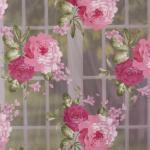 Gardinenstoff Dekostoff Organza große Rosen weiß rosa grün 2,8m Höhe