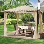 Gartenpavillon 3x3m Polyester mit PU-Beschichtung 180 g/m² champagnerfarben wasserdicht