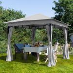 Gartenpavillon 3x3m Polyester mit PU-Beschichtung 180 g/m² stone wasserdicht