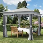 Gartenpavillon 3x3m Polyester mit PU-Beschichtung 220 g/m² stone wasserdicht