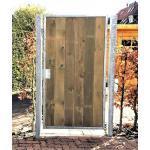 Gartentor Holztor mit Pfosten 125cm x 150cm Tor Pforte Verzinkt Holz senkrecht