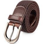 Geflochtener Stretch-Gürtel mit Dorn, oval, solide, schwarze, satinierte Schnalle, Leder-Endspitze für Herren/Damen/Kinder, 7 Größen 24 Farben