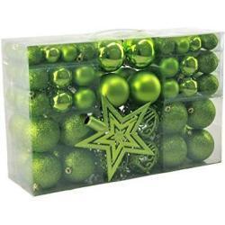 Geschenkestadl 1717S 100 Weihnachtskugeln und Baumspitze Stern (Grün)
