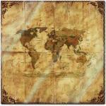 Glasbild - Weltkarte retro II Rahmen und Papier, Größe:50 x 50 cm