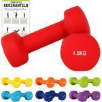 Hantelset Neopren 2er Set 0,5 - 5 kg Kurzhanteln-Paar, Farbe:1.5 kg - Rot