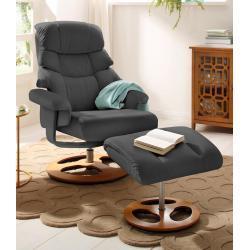 Home affaire Relaxsessel »Toulon«, inklusive Hocker, mit manueller Relaxfunktion, auswählbar zwischen zwei unterschiedlichen Beingestellen, Sitzhöhe 45 cm grau