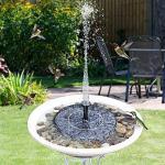 JunziWing Solarbrunnen Schwimmender Wasserbrunnen Fontaine Für Gartendekoration Solar Fontein Pool Teich Wasserfall