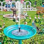 JunziWing Vogelbad Solarbrunnen Schwimmender Gartenwasserbrunnen Poolteichdekoration Solarbetriebene Brunnenwasserpumpe