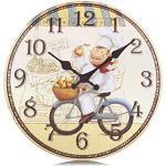Lafocuse 34 cm Shabby Chic Küchen Wanduhr Gelb Lautlos Koch Ohne Ticken Analoge Landhausstil Stille küchenuhr Vintage Deko für Esszimmer Restaurant