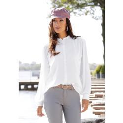 LASCANA Hemdbluse, mit bezogenen Knöpfen weiß