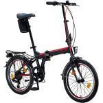 Licorne Bike Conseres Premium Falt Bike in 20 Zoll - Fahrrad für Herren, Jungen, Mädchen und Damen - Shimano 6 Gang-Schaltung - Hollandfahrrad , Farbe:Schwarz/Rot, Zoll:20