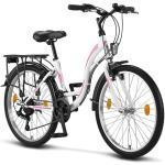 Licorne Bike Stella Premium City Bike in 24, 26 und 28 Zoll - Fahrrad für Mädchen, Jungen, Herren und Damen - Shimano 21 Gang-Schaltung - Hollandfahrrad , Farbe: Weiss, Zoll:24