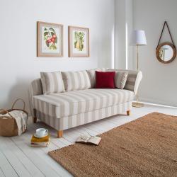 Maison Belfort Recamiere Revel I Beige Baumwollstoff/Webstoff 193x82x91 cm (BxHxT) mit Bettkasten Gestreift Landhaus