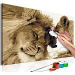 Malen nach Zahlen - Löwenpaar (Liebe) 60x40 cm