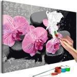 Malen nach Zahlen - Orchidee mit Zen Steinen (schwarzer Hintergrund) 60x40 cm