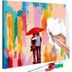 Malen nach Zahlen - Paar unter dem Regenschirm (Rosa Hintergrund) 45x45 cm