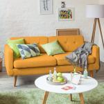 Mørteens Sofa Croom I 3-Sitzer Senfgelb Webstoff 184x84x81 cm (BxHxT) Skandi