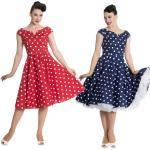 Nicky 50s retro Polka Dots Petticoat Kleid v. Hell Bunny, Größe:S, Farbe:navyblau