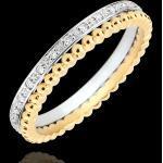 Ring Fleur de Sel - Doppelring - Diamant - Gelbgold und Weißgold 18 Ka
