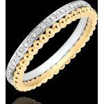 Ring Fleur de Sel - Doppelring - Diamant - Gelbgold und Weißgold 9 Kar
