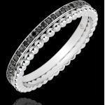 Ring Fleur de Sel - Doppelring - Schwartzer Diamant - Weißgold 18 Kara