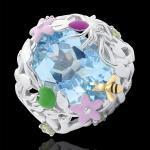 Ring Spaziergang der Sinne - Blaues Paradies - Silber, Diamanten und Hal