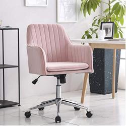 Rosa Samt Ergonomisch Bürostuhl Schreibtischstuhl Computerstuhl Arbeitsstuhl Drehstuhl mit Armen Neigungsfunktion Verstellbare Höhe für das Home Office