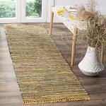 Safavieh Rag Rug Collection RAR127H Läufer, handgefertigt, Boho-Streifen, Baumwolle, 70 x 30 cm, Gelb / Mehrfarbig