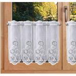 SeGaTeX home fashion Kurzgardine Scheibengardine Orion Panneau mit weiß-grauen Ornamenten in echter Plauner Stickerei