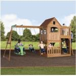 Stelzenhaus Backyard DISCOVERY Hill Crest Holz mit Sandkasten, Doppelschaukel, Kletterwand, Sitzbank, Rutsche grün