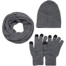 styleBREAKER Unisex Strick Loop Schal, Beanie Mütze und Touchscreen Handschuhe Set, Karo Strickmuster, Winter 01018213, Farbe:Dunkelblau meliert