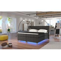 Stylefy Amadeo LED Boxspringbett 165x205x126 cm Grau I